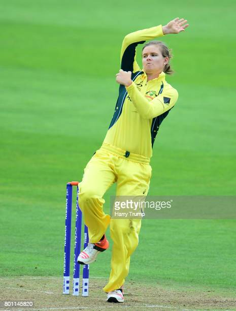 Jess Jonassen of Australia bowls during the ICC Women's World Cup 2017 match between Australia and West Indies at The Cooper Associates County Ground...