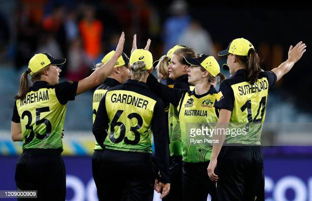 Jess Jonassen of Australia celebrates after taking the wicket of Rumana Ahmed of Bangladesh during the ICC Women's T20 Cricket World Cup match...