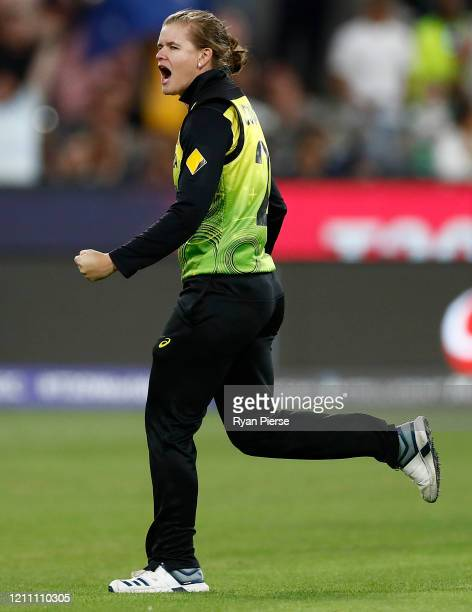 Jess Jonassen of Australia celebrates after taking the wicket of Jemimah Rodrigues of India during the ICC Women's T20 Cricket World Cup Final match...