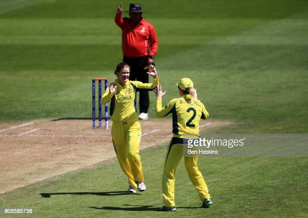 Jess Jonassen of Australia celebrates taking a wicket during the ICC Women's World Cup 2017 match between Australia and New Zealand at The County...