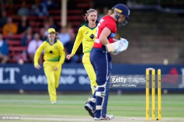 Jess Jonassen of Australia celebrates taking the wicket of Heather Knight of Englan during the first Women's Twenty20 match between Australia and...
