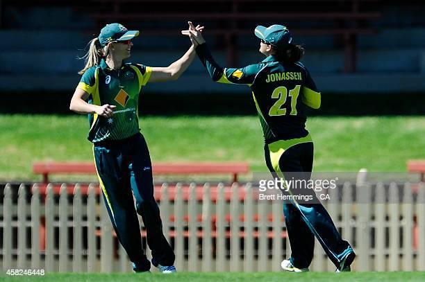 Jess Jonassen of Australia celebrates the wicket of Kycia Knight of the West Indies during the women's International Twenty20 match between Australia...