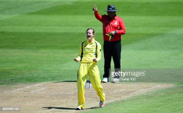 Jess Jonassen of Australia celebrates the wicket of Suzie Bates of New Zealand during the ICC Women's World Cup 2017 match between Australia and New...