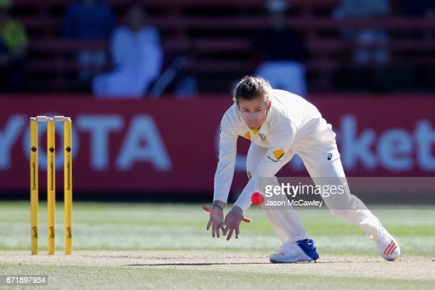 Jess Jonassen of Australia fields during the Women's Test match between Australia and England at North Sydney Oval on November 9 2017 in Sydney...