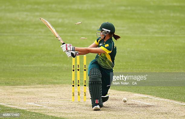 Jess Jonassen of Australia is bowled during game two of the women's international one day series between Australia and the West Indies at Hurstville...