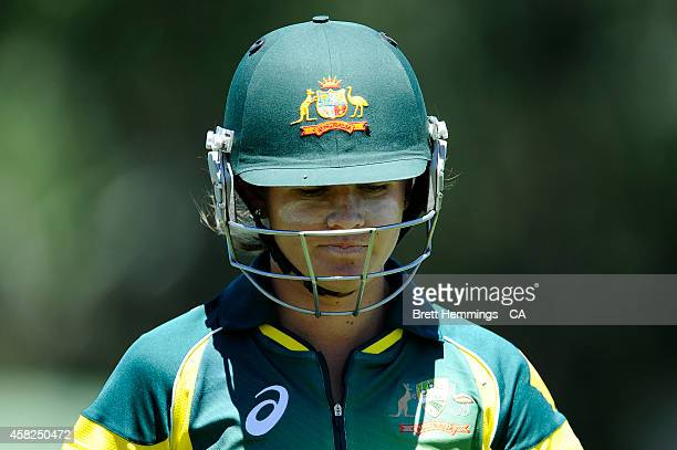 Jess Jonassen of Australia leaves the field after being dissmed by Anisa Mohammed of West Indies during the women's International Twenty20 match...