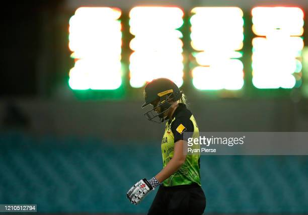 Jess Jonassen of Australia looks dejected after being dismissed by Nonkululeko Mlaba of South Africa during the ICC Women's T20 Cricket World Cup...