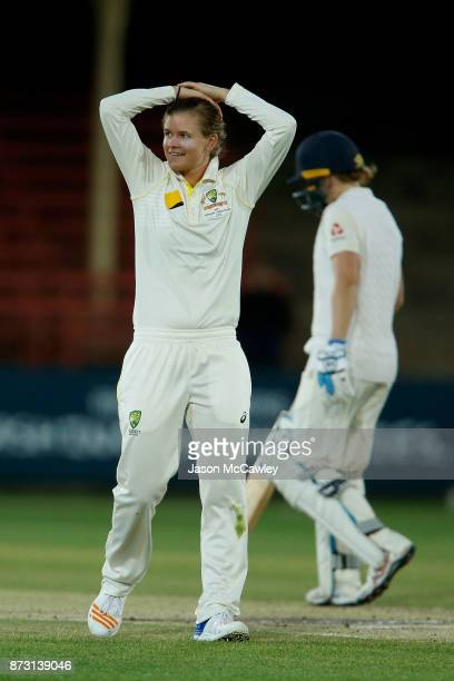 Jess Jonassen of Australia reacts during day four of the Women's Test match between Australia and England at North Sydney Oval on November 12 2017 in...