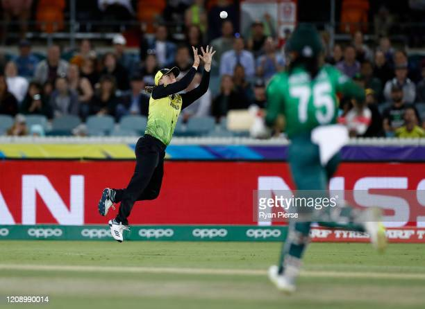 Jess Jonassen of Australia takes a catch to dismiss Murshida Khatun of Bangladesh off the bowling of Megan Schutt of Australia during the ICC Women's...