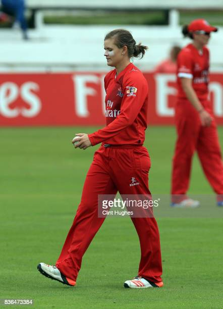 Jess Jonassen of Lancashire Thunder bowls during the Kia Super League match between Lancashire Thunder and Loughborough Lightning at Blackpool...