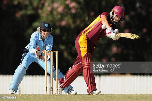 Jess Jonassen of Queensland bats during the women's T20 match between Queensland and New South Wales at Allan Border Field on October 24 2014 in...