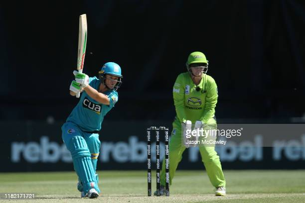 Jess Jonassen of the Heat bats during the Women's Big Bash League match between the Sydney Thunder and the Brisbane Heat at North Sydney Oval on...