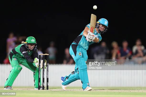 Jess Jonassen of the Heat bats during the Women's Big Bash League match between the Brisbane Heat and the Melbourne Stars on January 13 2018 in...