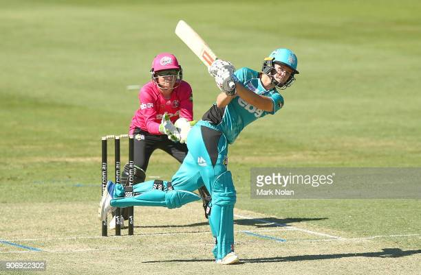 Jess Jonassen of the Heat bats during the Women's Big Bash League match between the Brisbane Heat and the Sydney Sixers at Hurstville Oval on January...