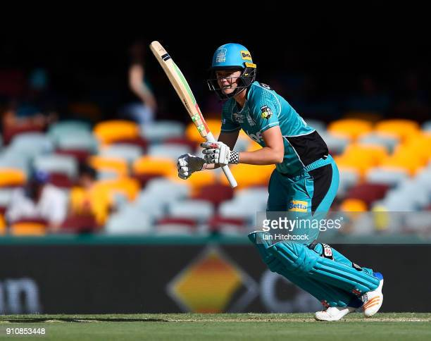 Jess Jonassen of the Heat bats during the Women's Big Bash League match between the Brisbane Heat and the Sydney Thunder at The Gabba on January 27...