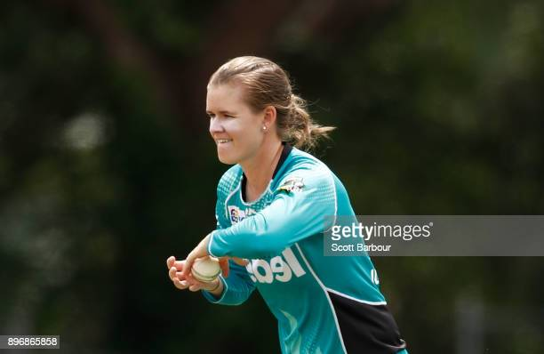Jess Jonassen of the Heat bowls during the Women's Big Bash League match between the Brisbane Heat and the Melbourne Renegades at Camberwell on...