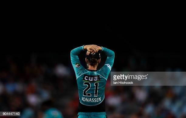 Jess Jonassen of the Heat looks on during the Women's Big Bash League match between the Brisbane Heat and the Melbourne Stars on January 13 2018 in...