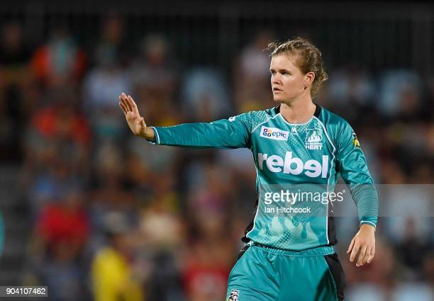 Jess Jonassen of the Heat signals during the the Women's Big Bash League match between the Brisbane Heat and the Melbourne Stars at Harrup Park on...