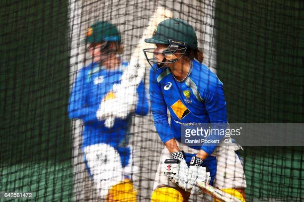 Jess Jonassen prepares to bat during a Southern Stars training session at Melbourne Cricket Ground on February 18 2017 in Melbourne Australia