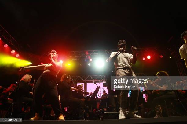 Jess Kav and Mango performs at 2FM Live: The Story of Hip Hop with the RTE Concert Orchestra Electric Picnic 2018 at Stradbally Hall Estate on August...
