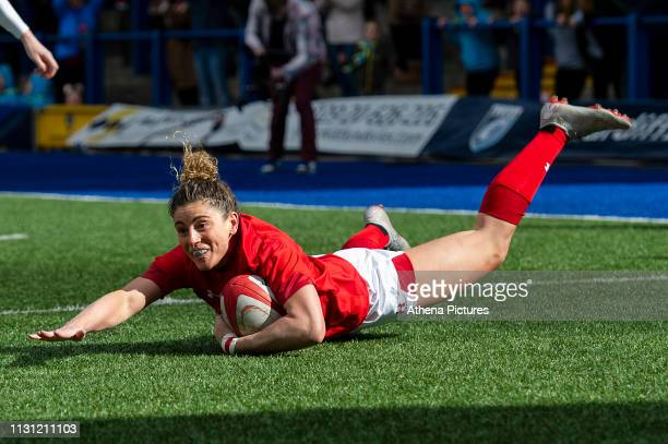Jess Kavanagh of Wales scores her sides first try during the Women's Six Nations match between Wales and Ireland at Cardiff Arms Park on March 17,...