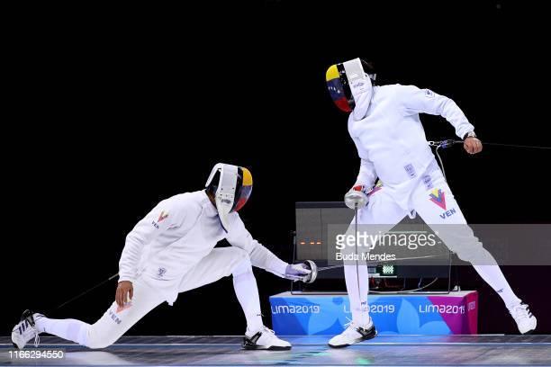 Jesús Limardo Gascón and Rubén Limardo Gascón of Venezuela compete in Men's Fencing Épée Individual Gold Medal Bout on Day 10 of Lima 2019 Pan...