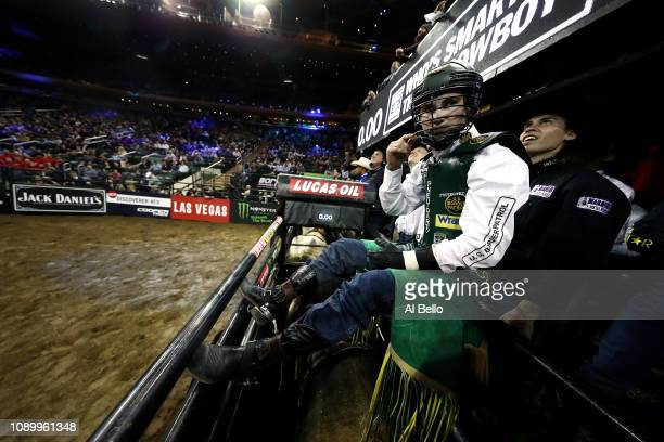 Jess Lockwood prepares to ride during the PBR Unleash the Beast bull riding event at Madison Square Garden on January 04 2019 in New York City