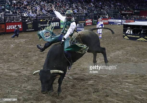 Jess Lockwood rides Bandit during the PBR Unleash the Beast bull riding event at Madison Square Garden on January 04 2019 in New York City