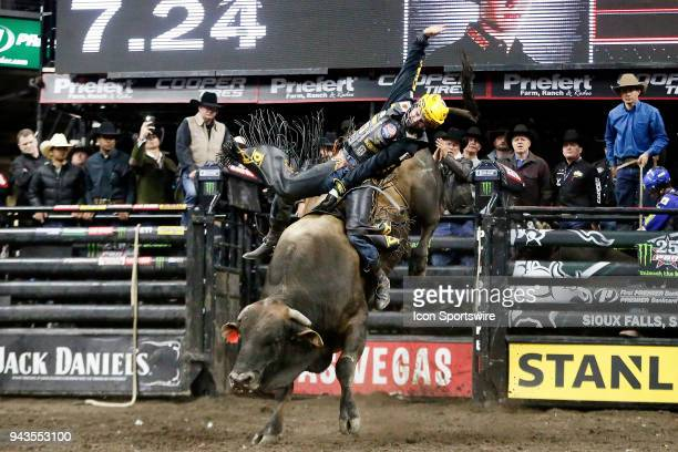 Jess Lockwood rides bull Big Dutch during Championship round of the 25th Professional Bull Riders Unleash The Beast on April 8 at Denny Sanford...