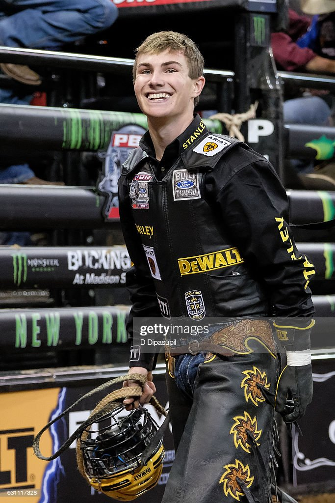 Jess Lockwood smiles after his ride during the 2017 Professional Bull Riders Monster Energy Buck Off at the Garden at Madison Square Garden on January 6, 2017 in New York City.