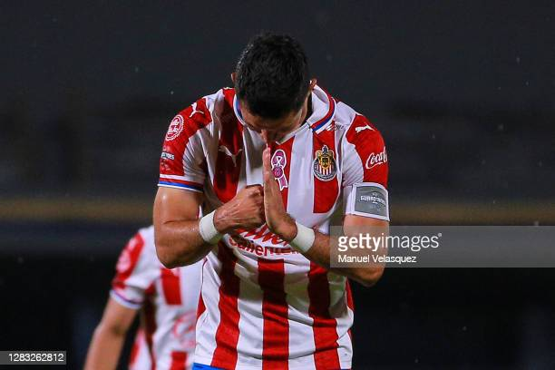 Jesús Molina of Chivas celebrates after scoring his team's second goal during the 16th round match between Pumas UNAM and Chivas as part of the...