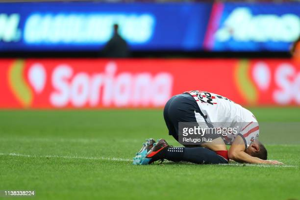 Jesús Molina of Chivas reacts during the 15th round match between Chivas and Puebla as part of the Torneo Clausura 2019 Liga MX at Akron Stadium on...