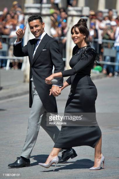 Jesús Navas and Alejandra Moral attend the wedding of real Madrid football player Sergio Ramos and Tv presenter Pilar Rubio at Seville's Cathedral on...