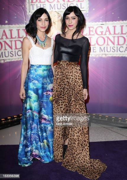 Jess Origliasso and Lisa Origliasso arrive for the Australian Gala Premiere of Legally Blonde The Musical' at The Lyric Theatre on October 4 2012 in...