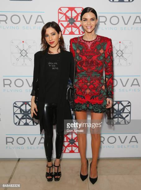 Jess Origliasso and Ruby Rose arrive ahead of the ROVA Flying Selfie Camera Launch at Hilton Brasserie on March 6 2017 in Sydney Australia