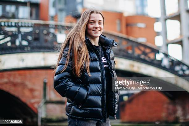 Jess Park of Manchester City Women poses for a portrait to be used in conjunction with the Manchester City #SameGoals campaign aimed to inspire the...
