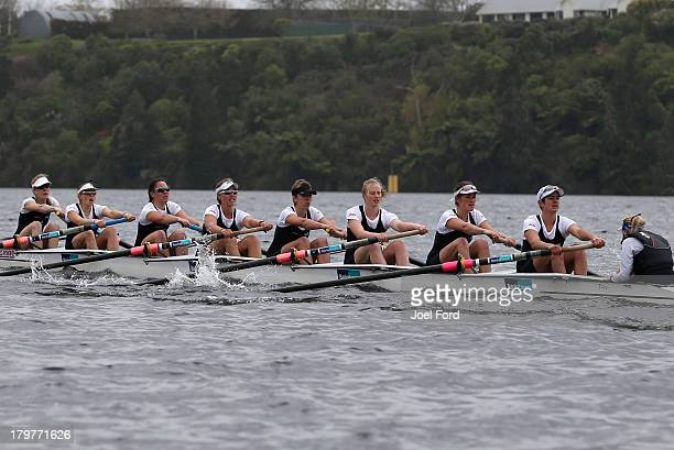 Jess Paton Kristi Dorotich Tessa Young Briar Murphy Lauren Tilson Sophie Shingleton Ruby Tew Rosie Crooks and cox Lydia Milner of New Zealand compete...