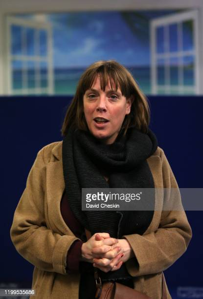 Jess Phillips arrives at a city centre homeless shelter on January 14 2020 in Glasgow Scotland