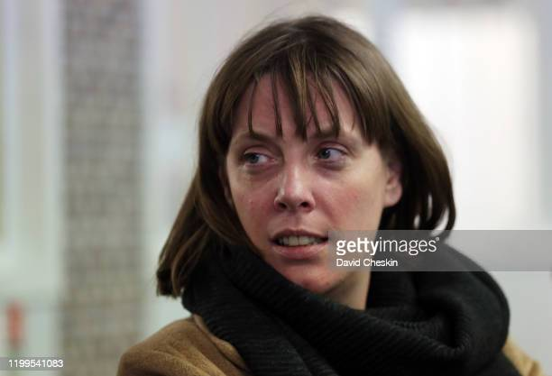 Jess Phillips arriving at a city centre homeless shelter on January 14 2020 in Glasgow Scotland