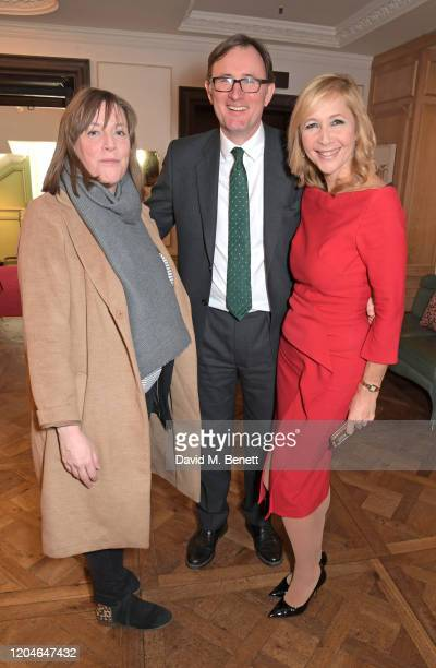 Jess Phillips James Landale and Tania Bryer attend Turn The Tables 2020 hosted by Tania Bryer and James Landale in aid of Cancer Research UK at...