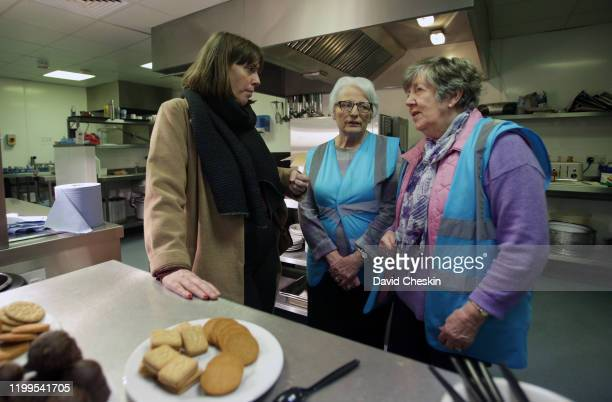 Jess Phillips talks cafe after arriving at a city centre homeless shelter on January 14 2020 in Glasgow Scotland