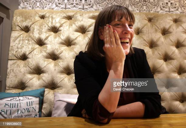 Jess Phillips talks to a reporter before arriving at a city centre homeless shelter on January 14 2020 in Glasgow Scotland