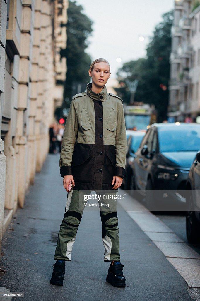 Jess P-W after the Prada show during Milan Fashion Week Spring/Summer 2017 on September 22, 2016 in Milan, Italy.