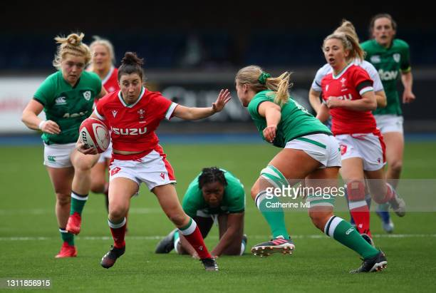Jess Roberts of Wales makes a break during the Women's Six Nations match between Wales and Ireland at Cardiff Arms Park on April 10, 2021 in Cardiff,...