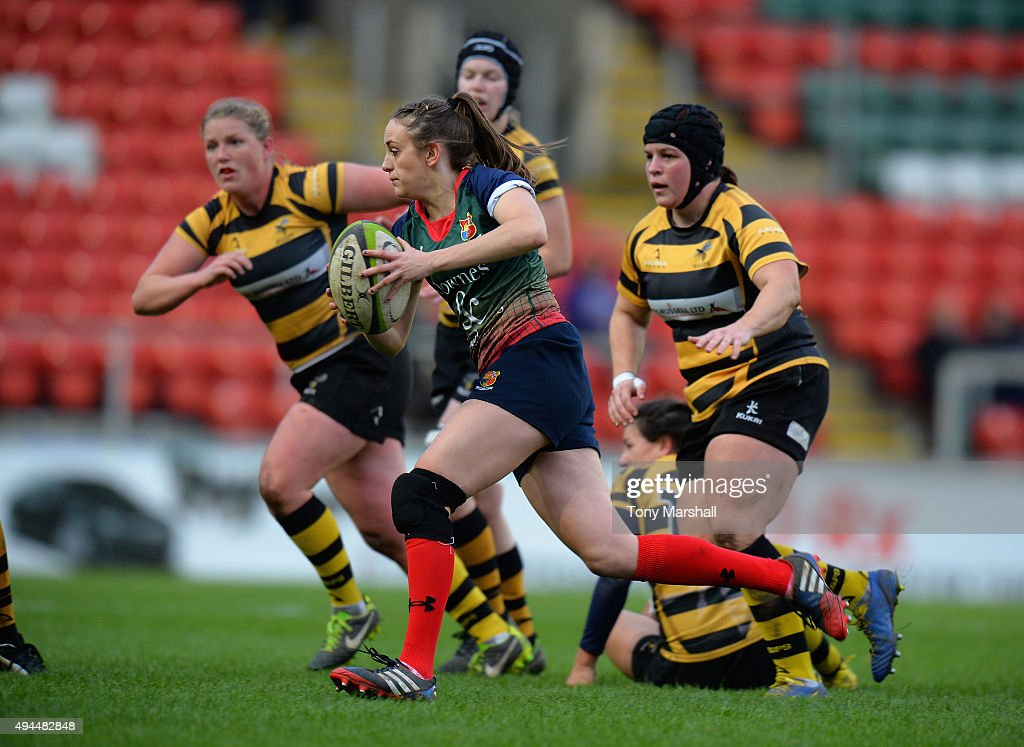 Jess Robinson of Lichfield Ladies makes a break during the Womens Premiership match between Lichfield Ladies and Wasps Ladies at Welford Road on October 25, 2015 in Leicester, England.
