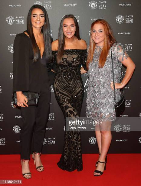 Jess Sigsworth Katie Zelem and Martha Harris of Manchester United Women arrive at the club's annual Player of the Year awards at Old Trafford on May...