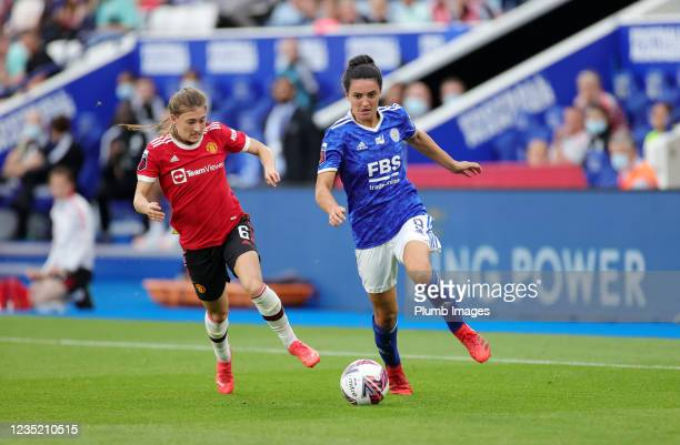 Jess Sigsworth of Leicester City Women in action with Hannah Blundell of Manchester United Women during the Barclays FA Women's Super League match...