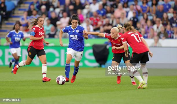 Jess Sigsworth of Leicester City Women in action with Maria Thorisdottir of Manchester United Women during the Barclays FA Women's Super League match...