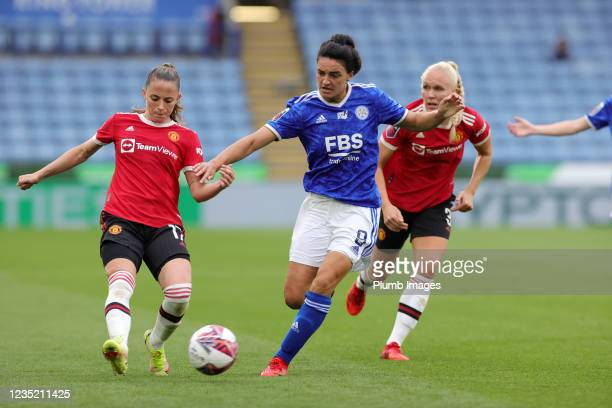 Jess Sigsworth of Leicester City Women in action with Ona Battle of Manchester United Women during the Barclays FA Women's Super League match between...