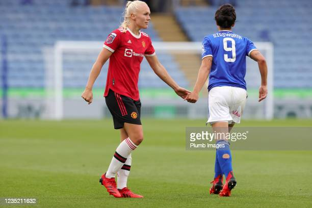 Jess Sigsworth of Leicester City Women with Maria Thorisdottir of Manchester United Women during the Barclays FA Women's Super League match between...